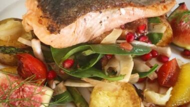 Easiest Way to Prepare Yummy Seared salmon on figs, roasted potatoes, fennel spinach and pomegranate dressing_5f76f6da70c34.jpeg