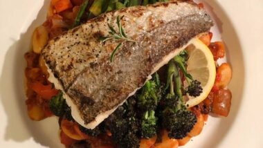 Recipe: Tasty Seared hake. Butterbean, chorizo and olive stew. Purple sprouting broccoli_5f76f67e300de.jpeg
