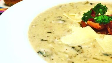 Tasty Cream of Mushroom Soup with Parmesan Cheese and Applewood Smoked Bacon So Easy!_5f7853b9bba4a.jpeg